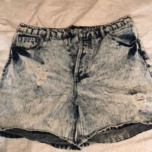 High Waisted Acid Wash Mom Jean Shorts